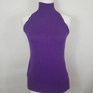 Cache Tops - Cache purple laced turtleneck sleeveless top small